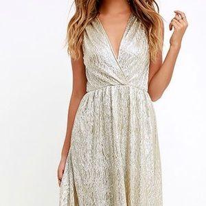 Lulus Silver/Gold Maxi Dress